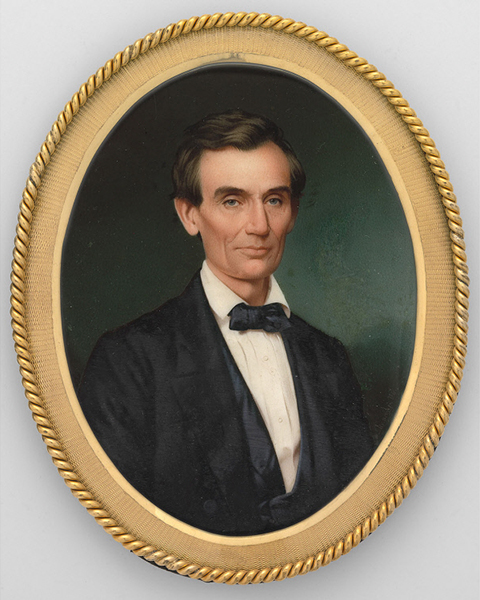 Miniature portrait of a young Abraham Lincoln wearing a dark coat and tie