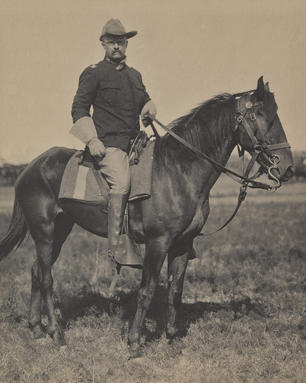 Man in riding clothes sitting astride a horse, facing right.