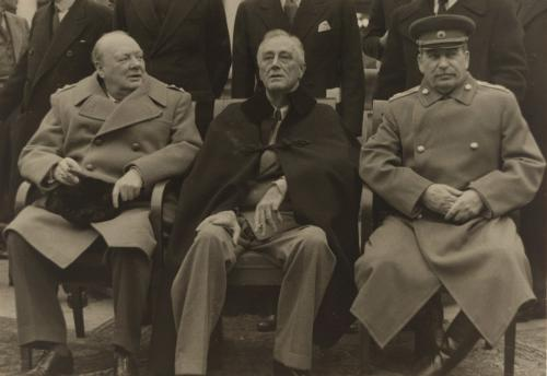 A photograph of Churchill, Roosevelt and Stalin at Yalta