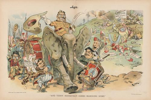 "A cartoon entitled ""And Teddy Comes Marching Home"""