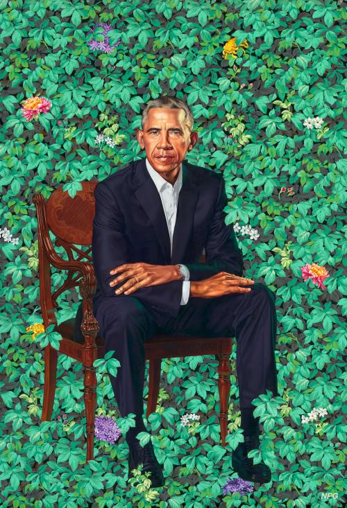 Painted portrait of Barack Obama, he sits in a chair, the background is flowers and foliage