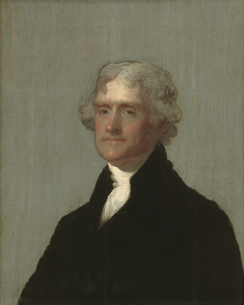 Monochromatic, profile portrait of a man (THomas Jefferson)
